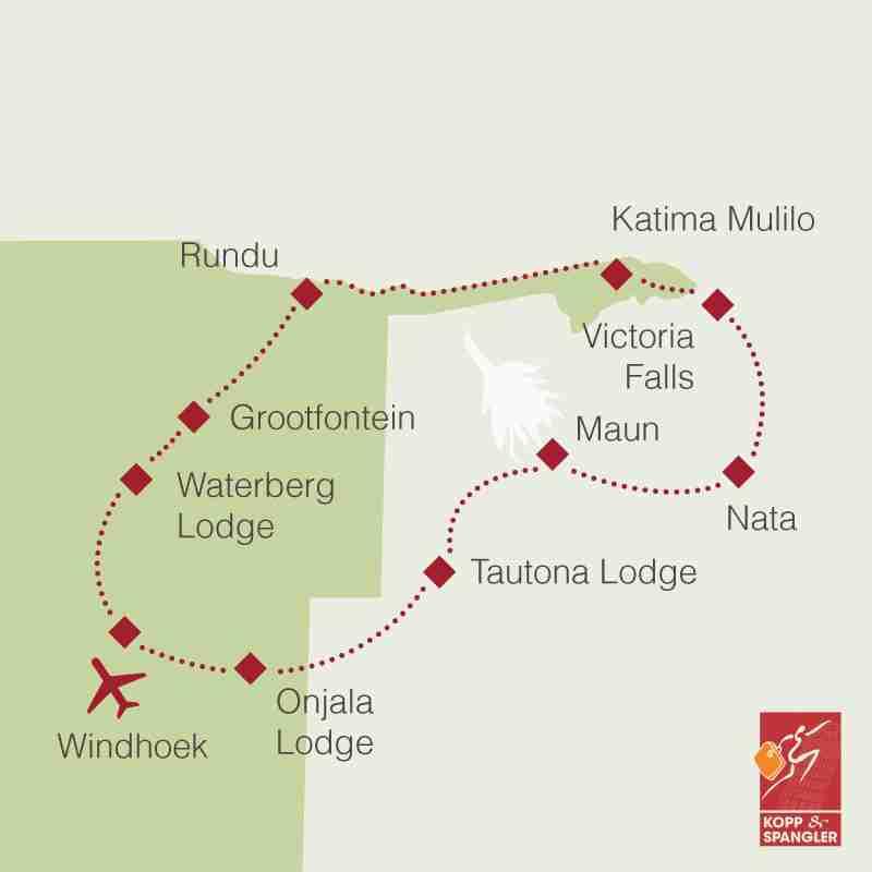 Reiseroute: Rundreise Namibia, Botswana & Victoriafälle