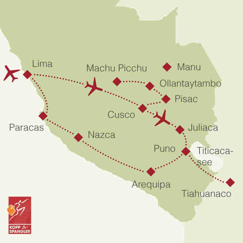 Reiseroute: Rundreise Peru